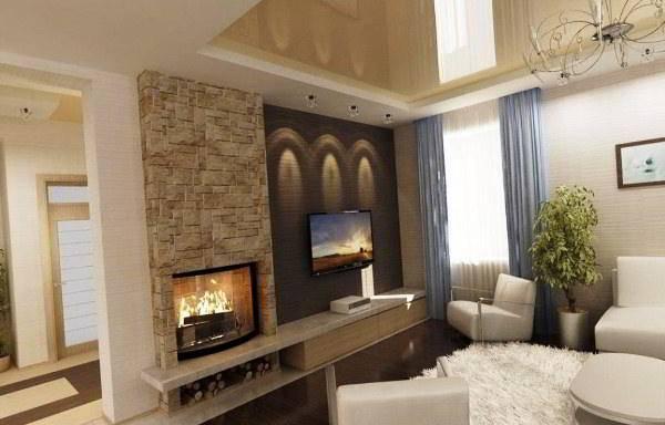 Угловой электрокамин в интерьере гостиной фото