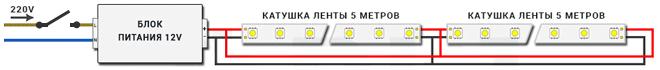 Диодная лента 12 вольт подключение