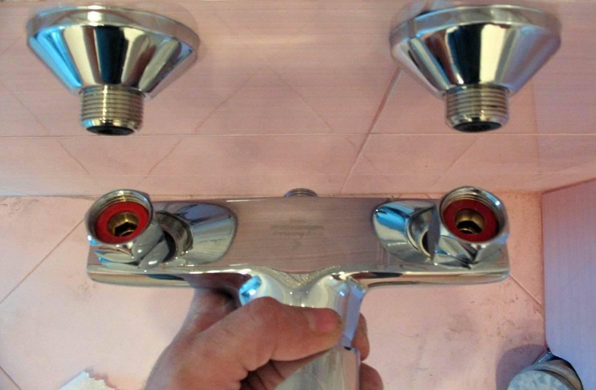Сборка смесителя для ванной