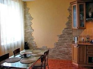 Отделка комнаты декоративным камнем