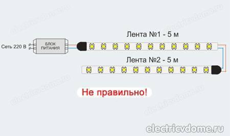 Подключение светодиодной ленты к 12 вольтам