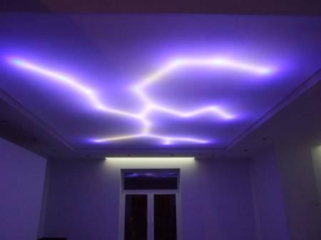 Монтаж светодиодной ленты в натяжной потолок