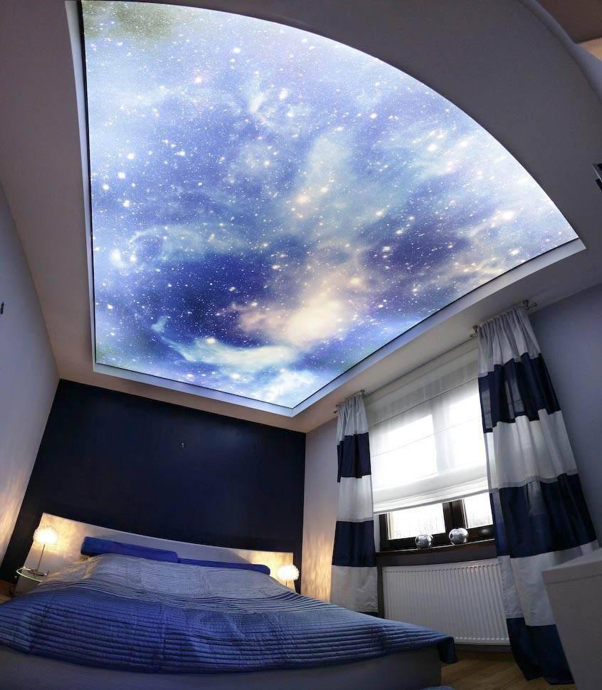 Образцы двухуровневых натяжных потолков фото