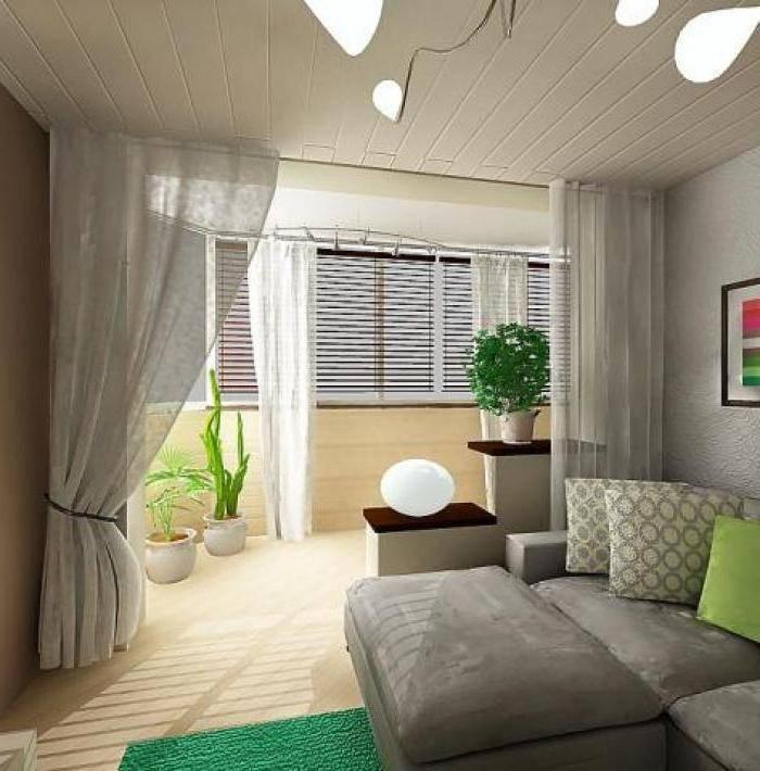 Зал совмещенный с балконом фото
