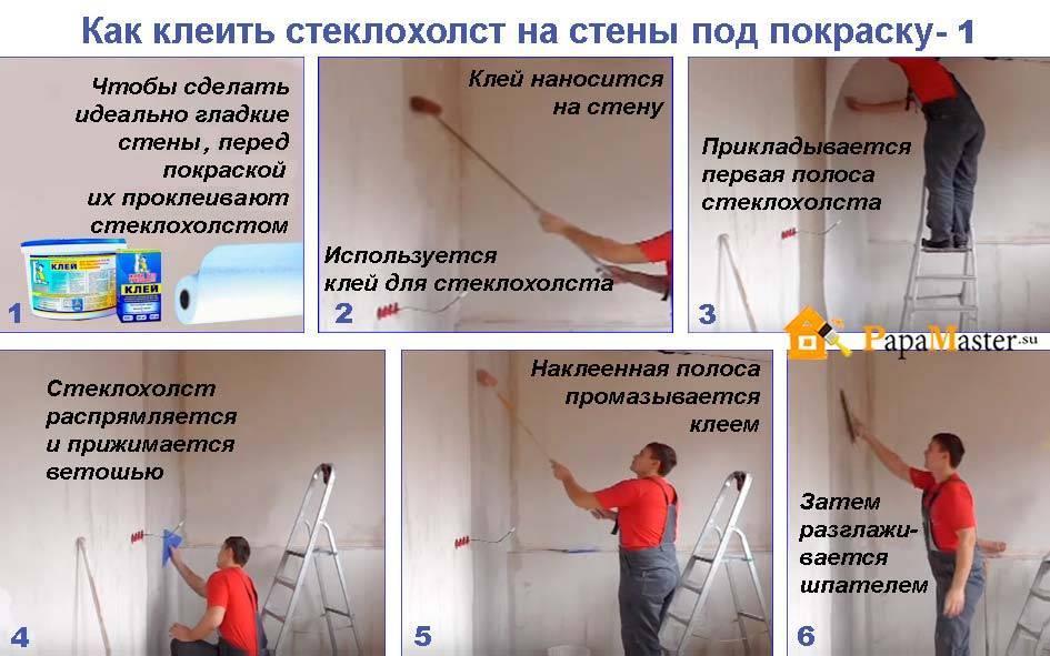 Поклейка паутинки на стены