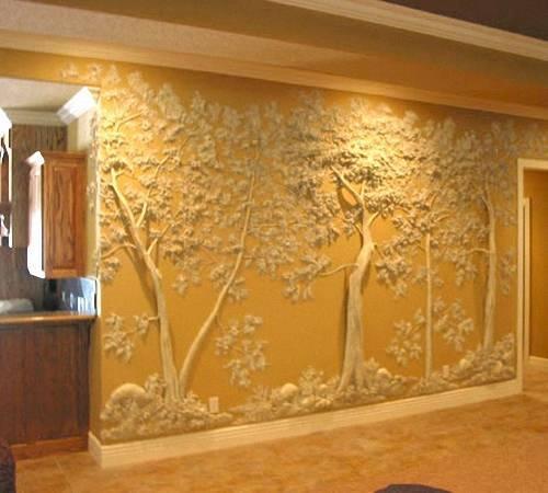 Дерево из гипса на стене