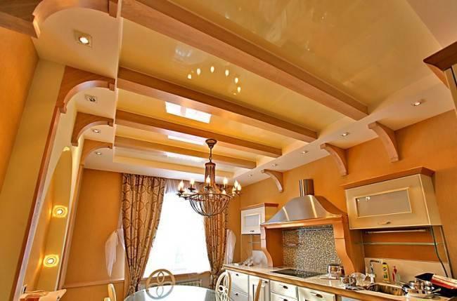 Потолки на кухне фото дизайнерские работы